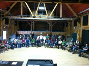 Goddard College Staff members at their June 5, 2015 ratification vote meeting at the Haybarn Theater on the Goddard Campus.