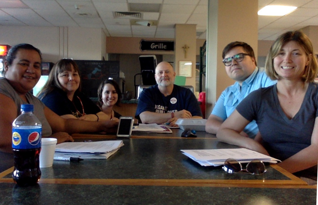 The Providence Hospital Union Bargaining Committee (L-R Olga Mercado, Michelle Reardon, Miriam Lexie, John McGrath, Ryan Quinn, Traci Ellithorpe)