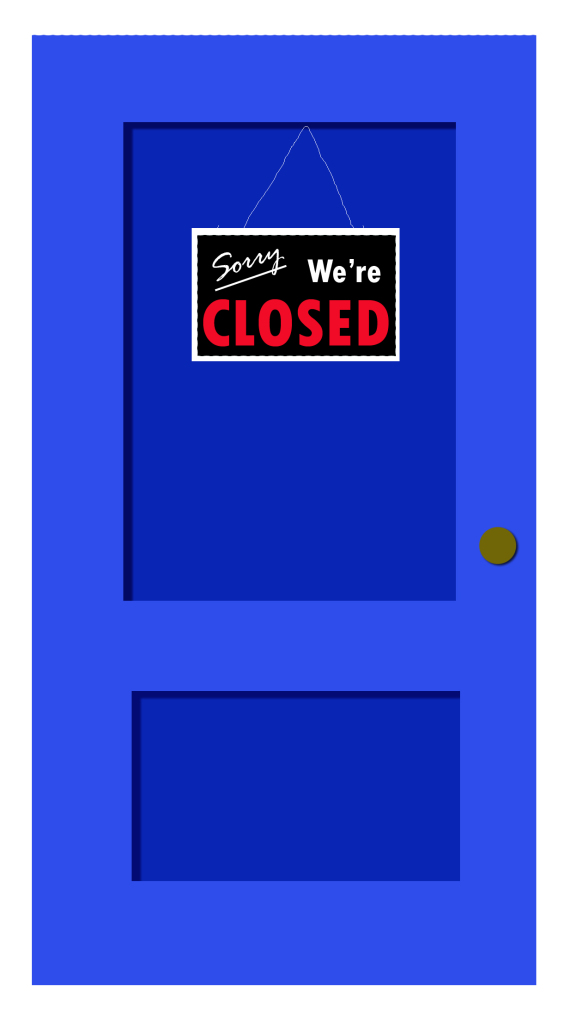 blue door - closed