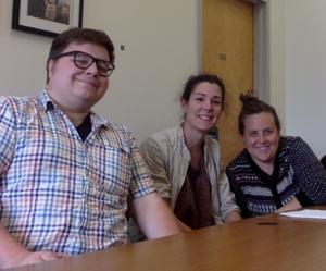 Postdoc Union Bargaining Committee (l-r Ryan Quinn, Maria Errea, Anais Surkin)